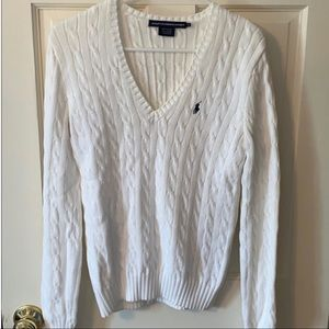 Ralph Lauren Sport White Cable Knit Medium Sweater